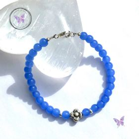 Blue Chalcedony Silver Flower Bracelet